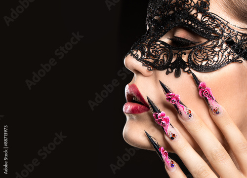 Beautiful girl in mask with long nails and sensual lips. Beauty Poster