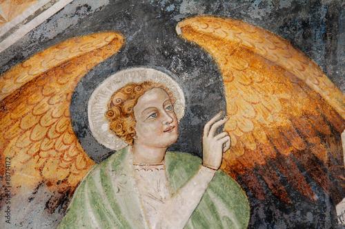 l'angelo Gabriele; particolare di affresco; abbazia di Novacella Fototapeta