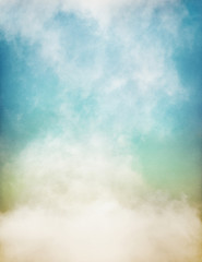 Fototapeta Mgła An abstraction of fog and clouds on a textured paper background with a pastel color gradient. Image displays significant paper grain and texture at 100 percent.