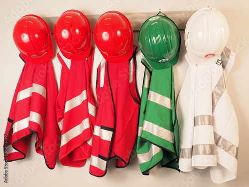 Canvas Print Wall hanger with vest and helmets for a emergency warden team, Melbourne 2015
