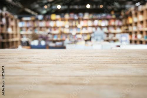 Photographie  Plateau compteur avec Brouillé Bookshelf Bookstore Contexte