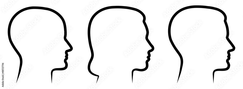 Fototapeta Set: 3 menschliche Vektor-Gesichter im Profil: weiblich, männlich, geschlechtsneutral / Vektor, handgezeichnet, schwarz-weiß