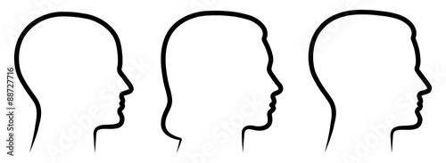 Obraz na płótnie Set: 3 menschliche Vektor-Gesichter im Profil: weiblich, männlich, geschlechtsne
