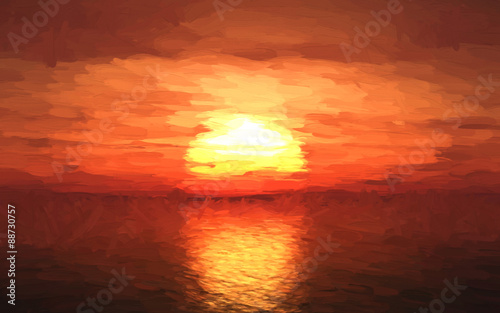 Foto op Canvas Koraal Oil painting of a sunset over sea