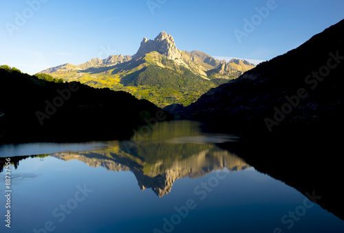 water, lake and mountain in Tena valley, Pyrenees, Huesca.