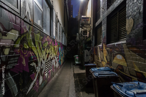 Valokuva  Melbourne, Australia - April 21, 2015: Graffitis on the walls in a dark alleyway of Melbourne