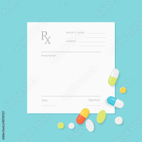 Fotografie, Obraz  Blank Medicine Prescription Form with Pills Scattered on It