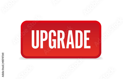 Upgrade Red Three Dimensional Square Button Isolated On White Background