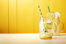 Homemade Lemonade In Mason Jars