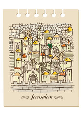 Fototapeta illustration with hand drawing Jerusalem