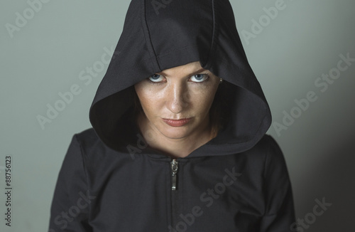 Fotomural Beautiful girl in the hood with earrings