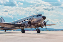 Dakota Douglas C 47 Transport Old Plane Boarded On The Runway