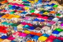 Photo Of Night Market High View From Building Colorful Tent Reta