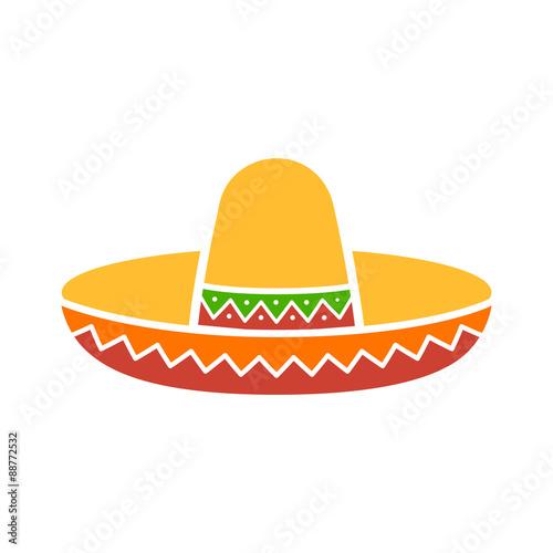 Fotografie, Obraz  Sombrero / mexický klobouk barevný plochý ikona aplikací a webů