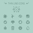 Ecology thin line icon set