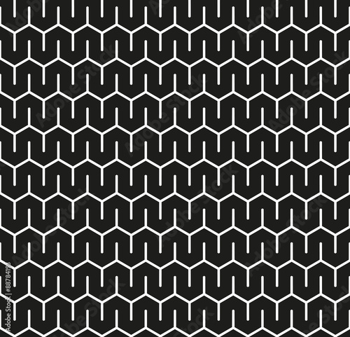 Fotografie, Obraz  Seamless Abstract Interlocking Geometric Background Texture Pattern in Black and