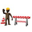 Ein braunes Männchen als Bauarbeiter auf einer Baustelle - unde