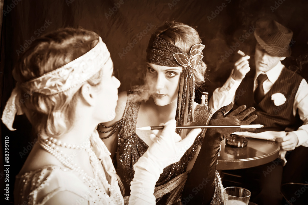 Fototapeta Flapper girls and gangster