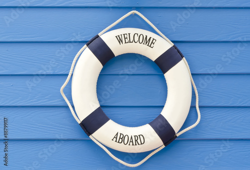 Life buoy  welcome aboard sign Wallpaper Mural