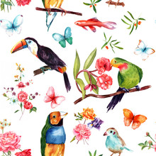 Seamless Pattern With Exotic Birds, Fish, Butterflies And Roses