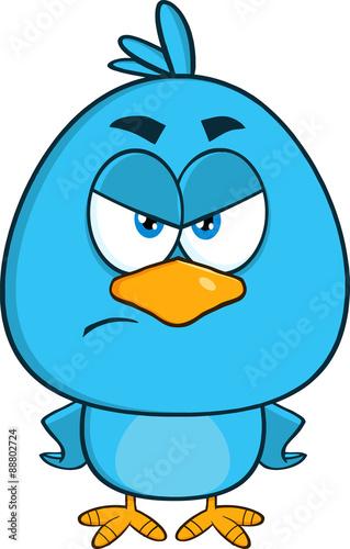 Fotografie, Tablou  Angry Blue Bird Cartoon Character