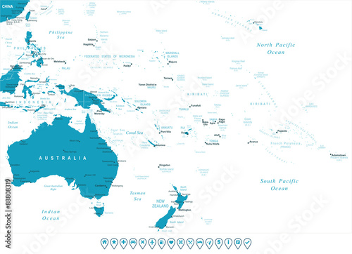 Australia Map City Names.Australia And Oceania Map And Navigation Labels Illustration