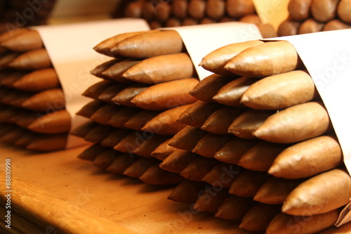 Photo  cuban cigar bundles over the table