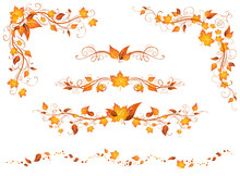 Vintage Autumn Page Decorations And Dividers.