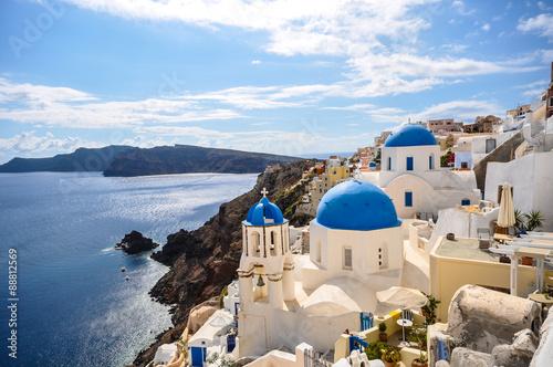 Staande foto Europese Plekken Santorini iconic blue roofs