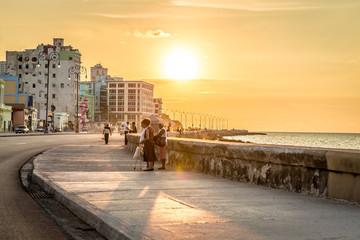 Sunset at Malecon avenue in Havana, Cuba