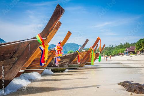 Photo  Long boat and tropical beach, Andaman Sea,Phi Phi Islands,Thaila