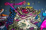 Fototapeta Młodzieżowe - Graffiti: Frosch bei der Jagd