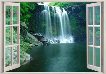 Panel Szklany Wodospad View from open window to Chunjeyun falls