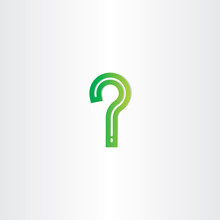 Green Question Mark Stylized Vector