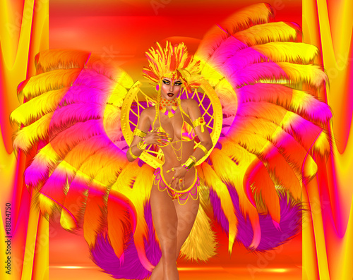Cadres-photo bureau Carnaval Carnival dancer woman in colorful feathers and headdress.