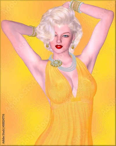 Blonde bombshell on gold glitter background with diamond necklace Canvas Print