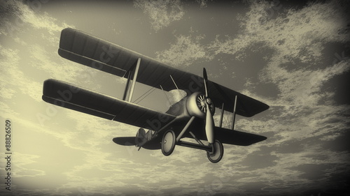 Obraz na plátne Biplane flying in the sky, vintage style - 3D render