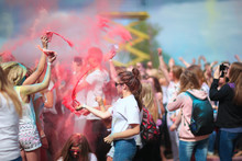 Young People Celebrating Spring At Holi Festival