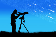 Silhouette Of Young Man Looking Through A Telescope At The Full
