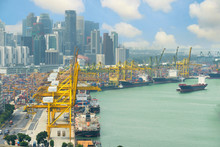 Singapore Cargo Terminal,one Of The Busiest Ports In The World,
