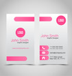 Business card set template. Pink and silver color. Vector illustration.
