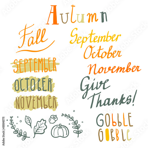 Valokuva  Hand drawn cute vector autumn lettering set