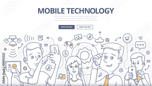 Fotografie, Obraz  Mobile Technology Doodle Concept