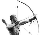Archery. Young Archer Training...