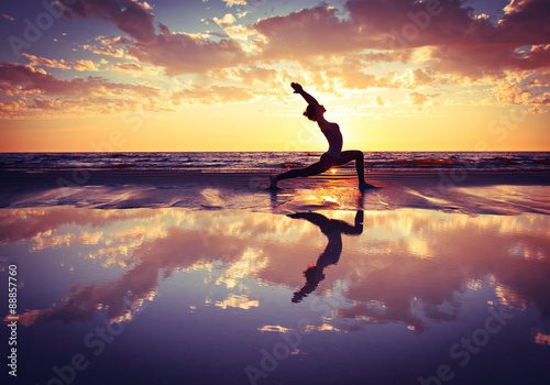 Fotografie, Tablou  woman practicing yoga