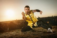 Man Practising Wushu At Sunset