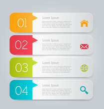 Business Infographics Tabs Template For Presentation, Education, Web Design, Banners, Brochures, Flyers. Brown And Pink Colors. Vector Illustration.