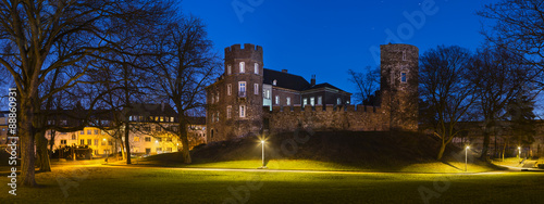 Photo Frankenberg Castle At Night Panorama, Aachen