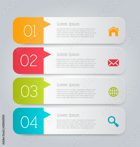 Business Infographics Tabs Template For Presentation Education Web
