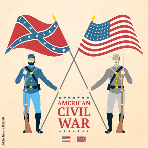 Obraz na plátně American Civil War illustration - southern and northern soldiers
